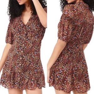 Free People Floral Bonnie Button Up Puff Sleeve Dress NWT